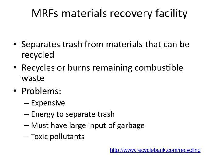 MRFs materials recovery facility
