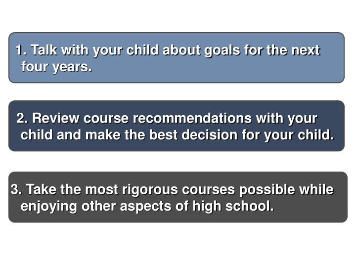 Talk with your child about goals for the next four years.
