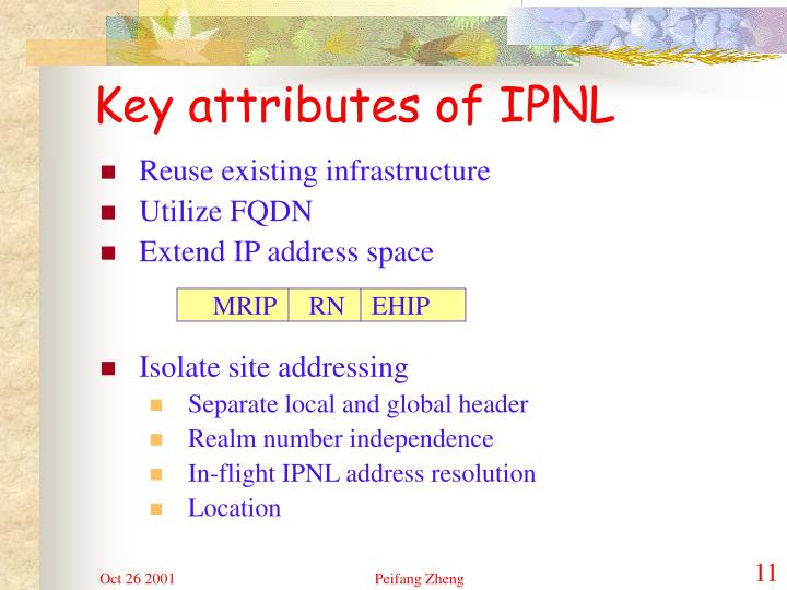 Key attributes of IPNL