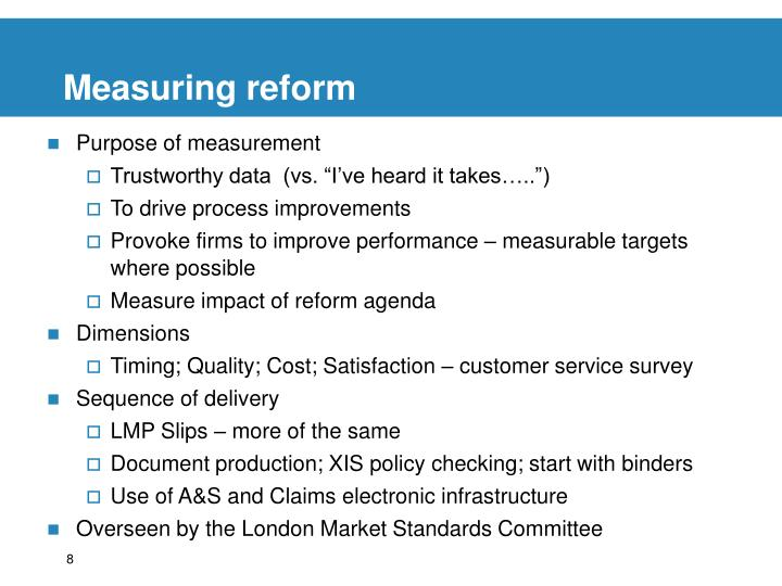 Measuring reform