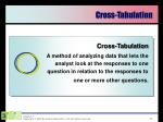 cross tabulation