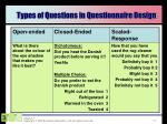 types of questions in questionnaire design