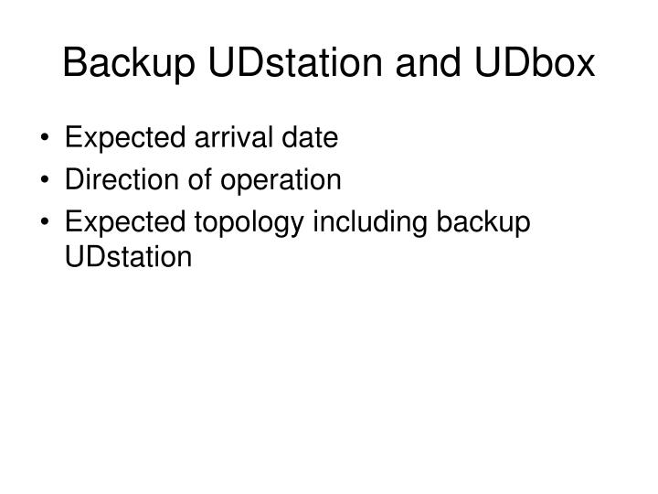 Backup UDstation and UDbox