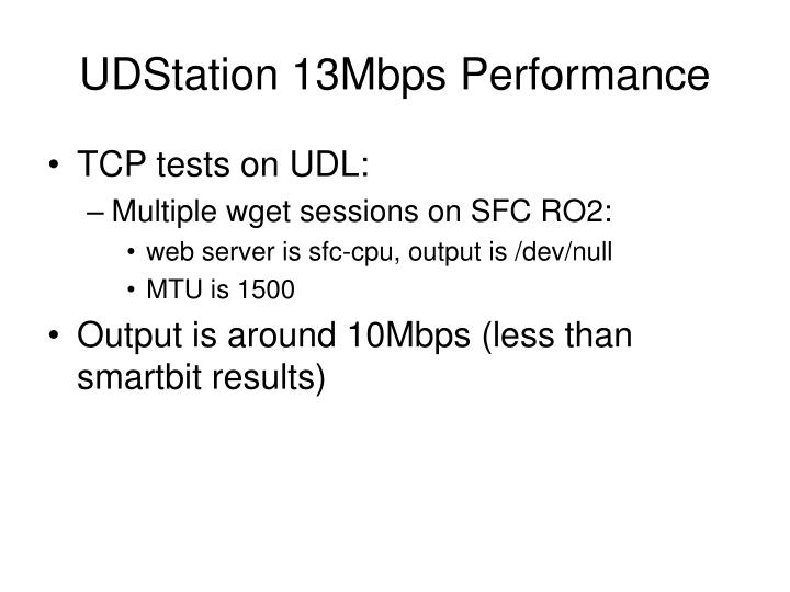 UDStation 13Mbps Performance