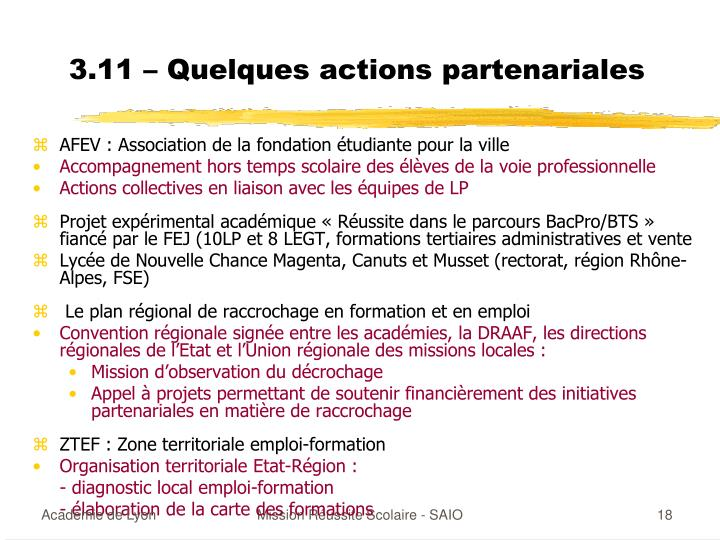 3.11 – Quelques actions partenariales