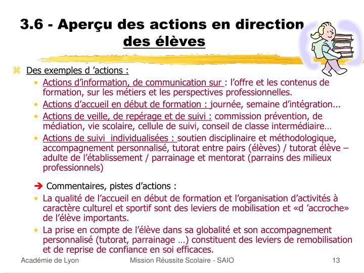 3.6 - Aperçu des actions en direction