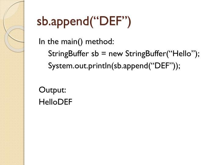 sb.append