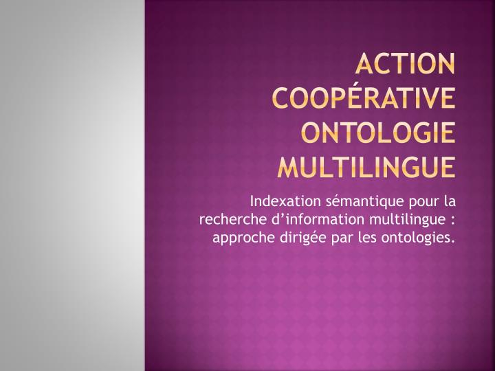Action coop rative ontologie multilingue
