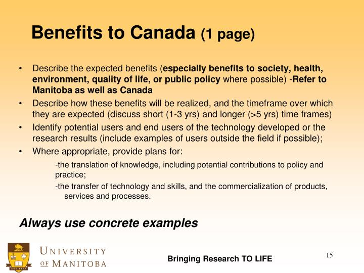 Benefits to Canada