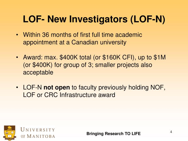 LOF- New Investigators (LOF-N)
