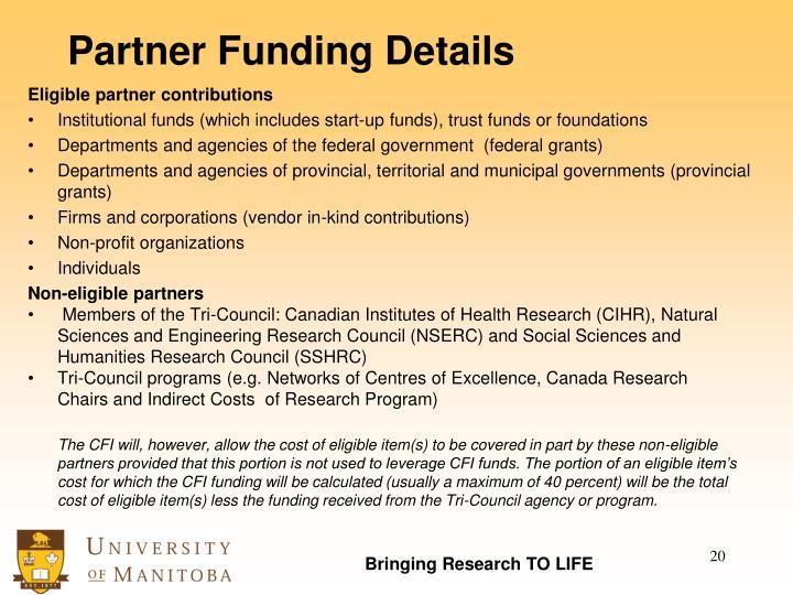 Partner Funding Details
