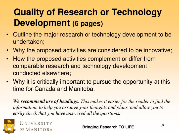 Quality of Research or Technology Development