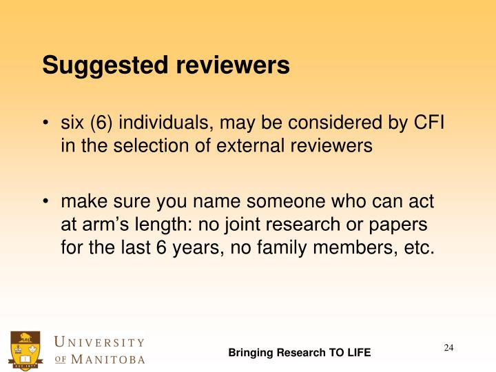 Suggested reviewers