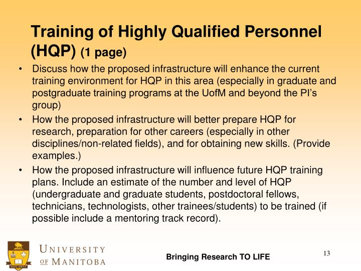 Training of Highly Qualified Personnel (HQP)