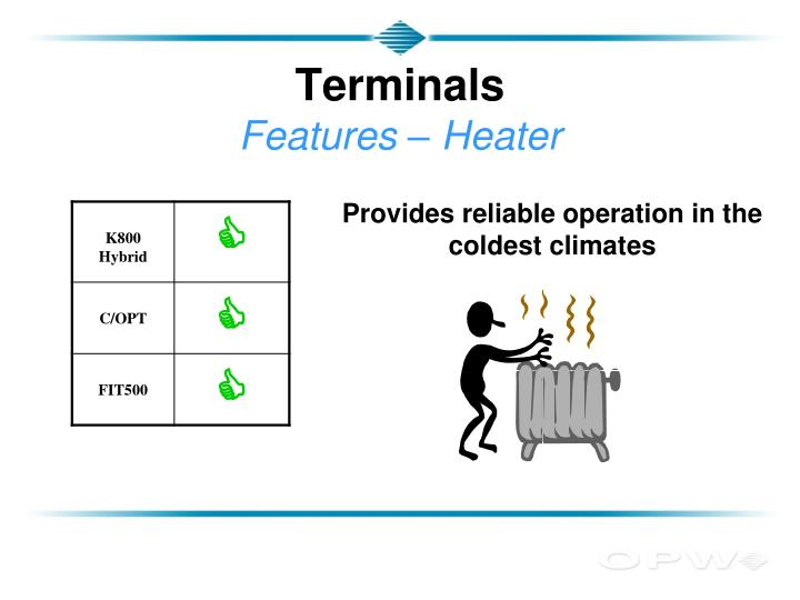 Terminals features heater