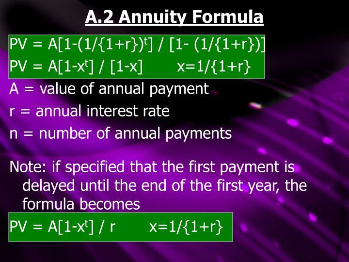 A.2 Annuity Formula