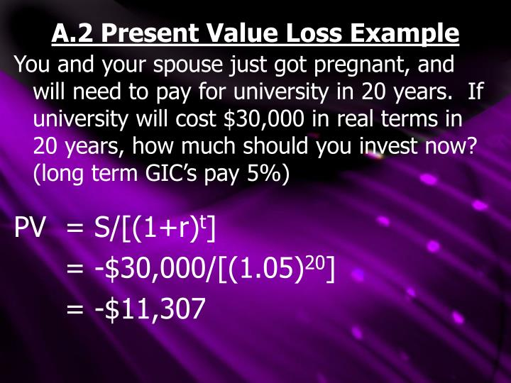 A.2 Present Value Loss Example