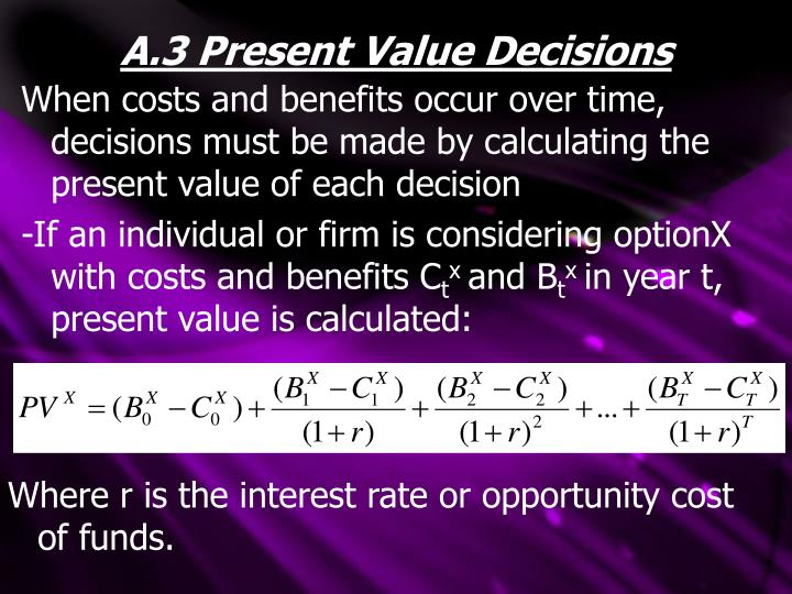 A.3 Present Value Decisions