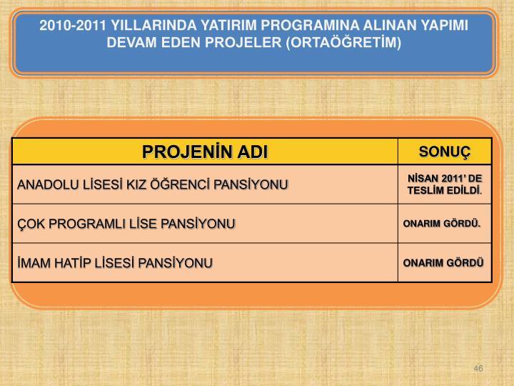 2010-2011 YILLARINDA YATIRIM PROGRAMINA ALINAN YAPIMI DEVAM EDEN PROJELER (ORTAÖĞRETİM)