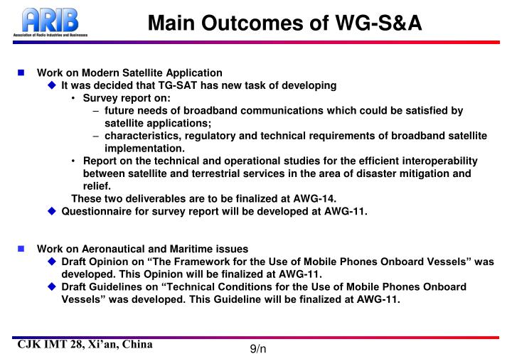 Main Outcomes of WG-S&A
