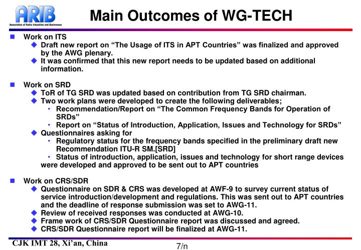 Main Outcomes of WG-TECH