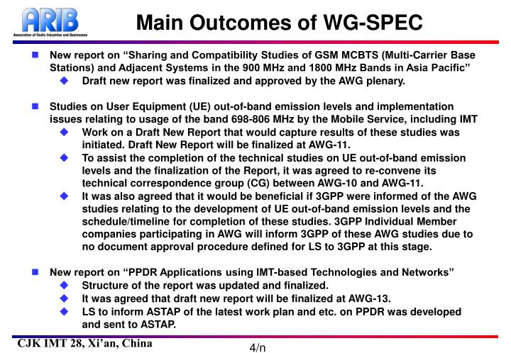 Main Outcomes of WG-SPEC