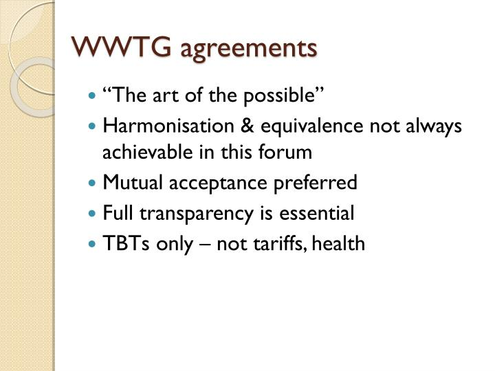 WWTG agreements