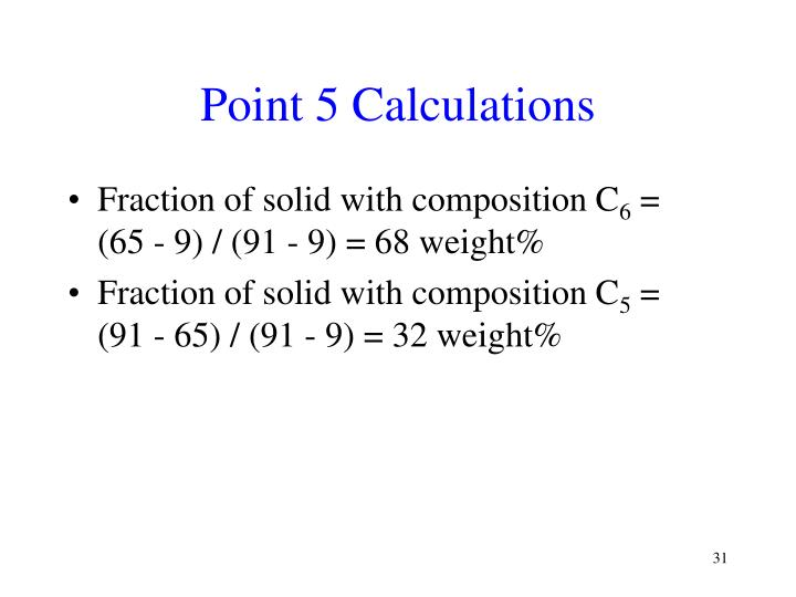 Point 5 Calculations
