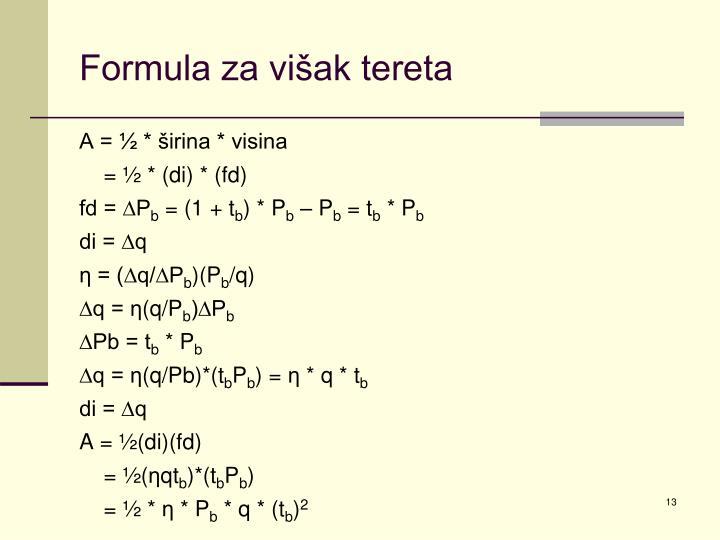 Formula za višak tereta