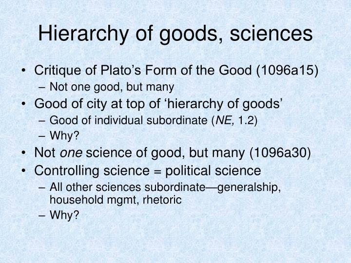 Hierarchy of goods, sciences