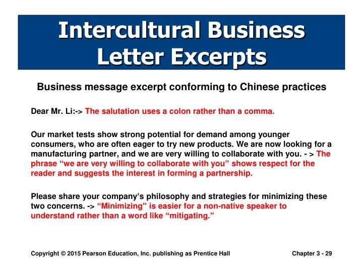 Intercultural Business Letter Excerpts