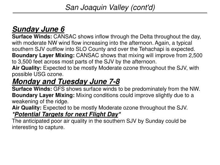 San Joaquin Valley (cont'd)
