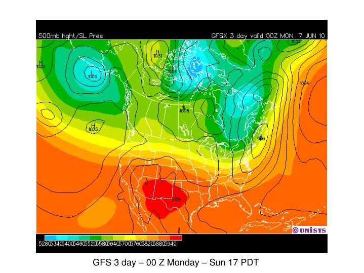 GFS 3 day – 00 Z Monday – Sun 17 PDT