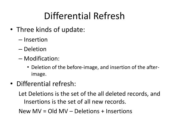 Differential Refresh