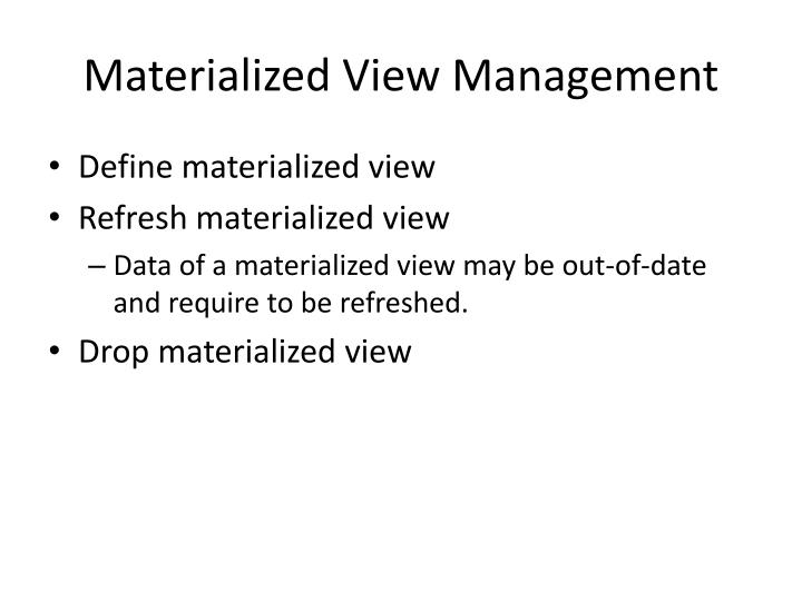 Materialized View Management
