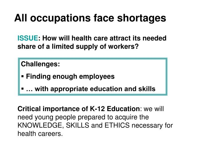 All occupations face shortages