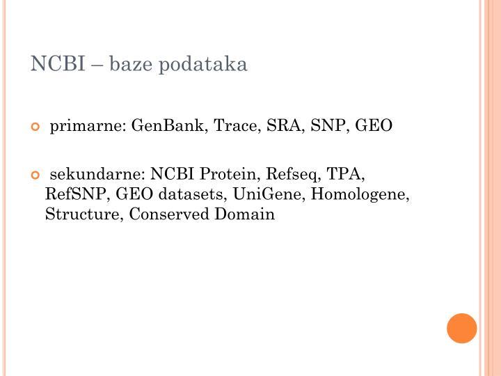 NCBI – baze podataka