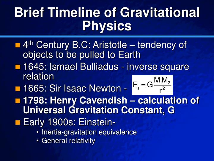 Brief timeline of gravitational physics