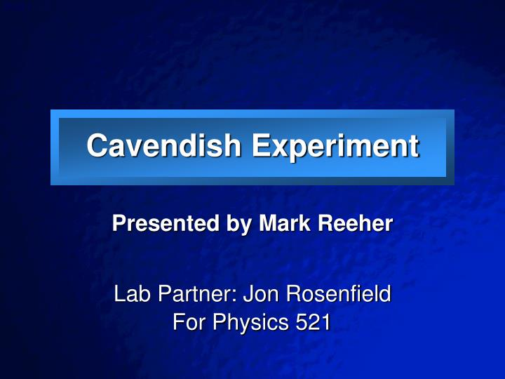 cavendish experiment