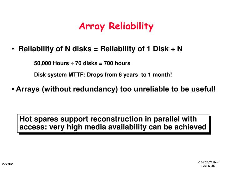 Array Reliability
