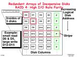 redundant arrays of inexpensive disks raid 4 high i o rate parity