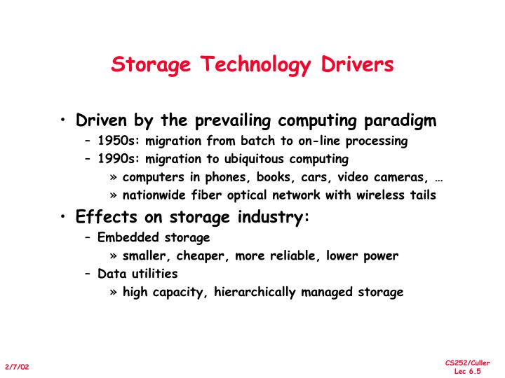Storage Technology Drivers