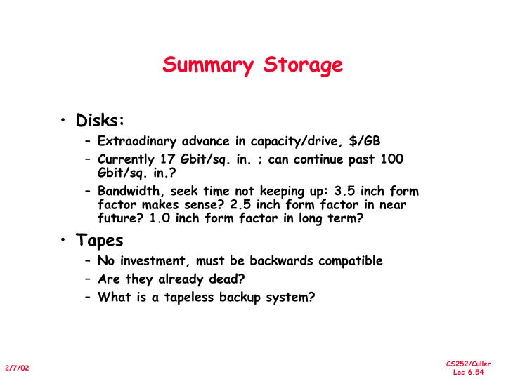 Summary Storage