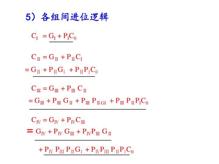 5)各组间进位逻辑