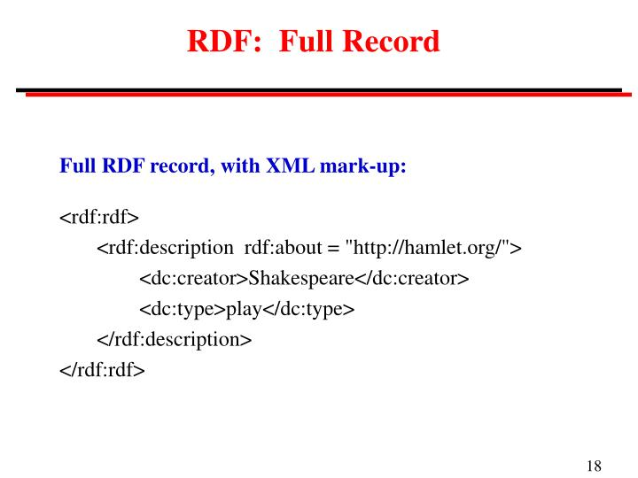 RDF:  Full Record
