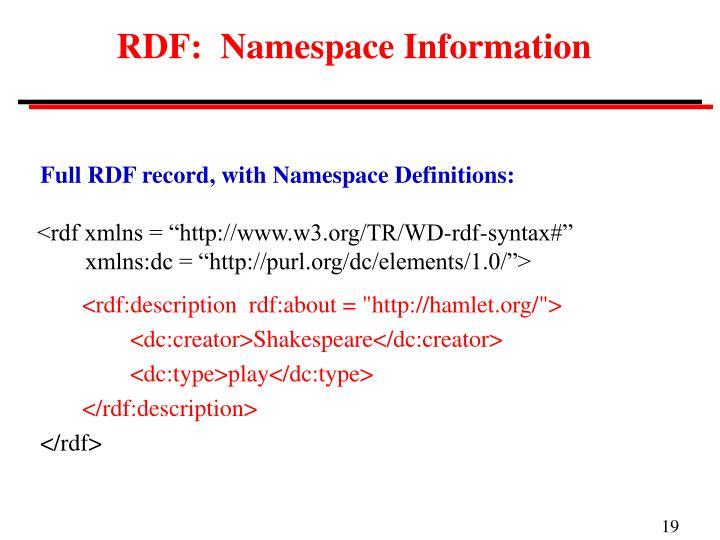 RDF:  Namespace Information