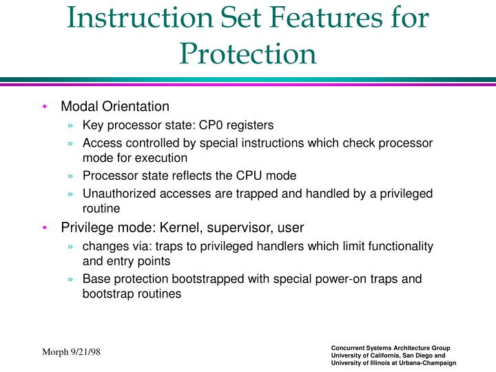 Instruction Set Features for Protection
