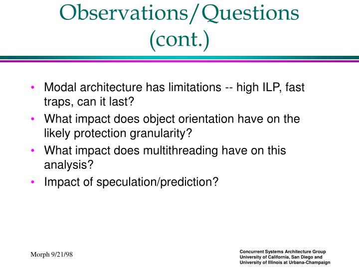 Observations/Questions (cont.)