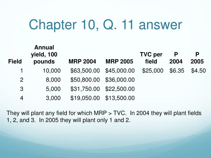 Chapter 10, Q. 11 answer