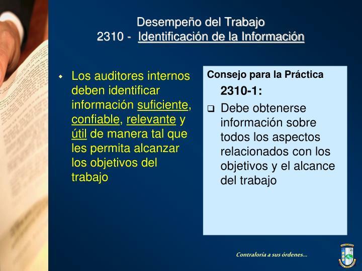 Los auditores internos deben identificar información